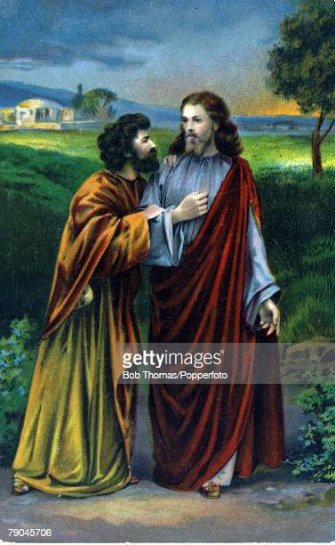 Colour illustration Religion Biblical scenes Jesus Christ and the traitor Judas Iscariot