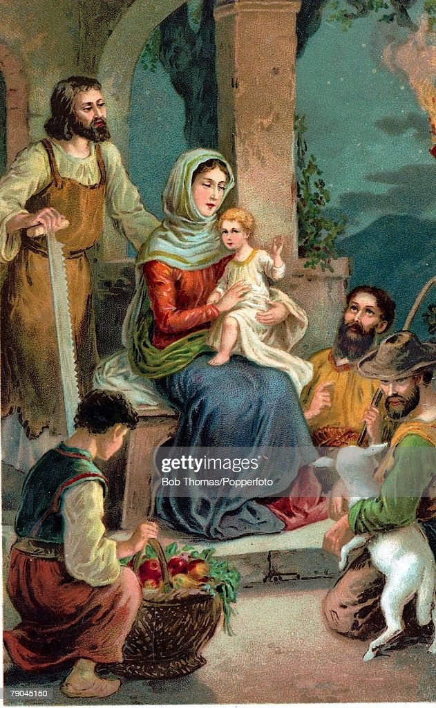 Colour illustration. (card produced circa 1920) Religion. Biblical scenes. The Nativity. Bethlehem. The Virgin Mary, Joseph and the baby Jesus visited by the three wise men. : News Photo