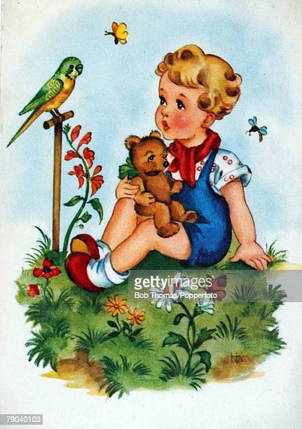 Colour illustration Small boy with his teddy bear with budgerigar on perch in a garden setting