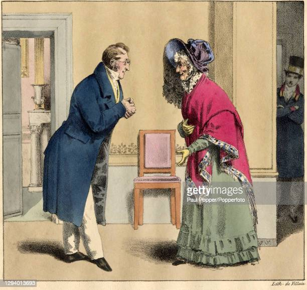 Colour illustration taken from 'Petites Scenes du Monde' showing a bespectacled man talking to an old woman, the man wears a blue frock coat, light...