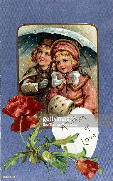 Colour illustration Valentine postcard circa 1910 Boy and girl in winter scene valentine's card with poppies
