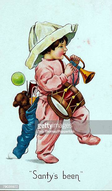 Colour illustration Victorian era Christmas card Child and Christmas presents including trumpet and drum