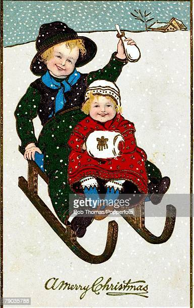 colour illustration victorian era christmas card children on a sledge in the snow both dressed in - Naughty Or Nice Christmas Card