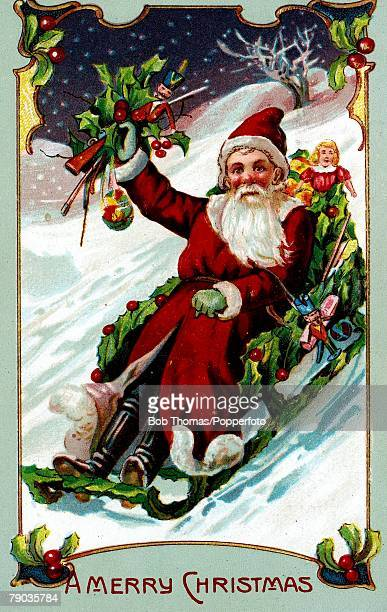 Colour illustration Victorian era Christmas card Father Christmas riding a sledge in the snow