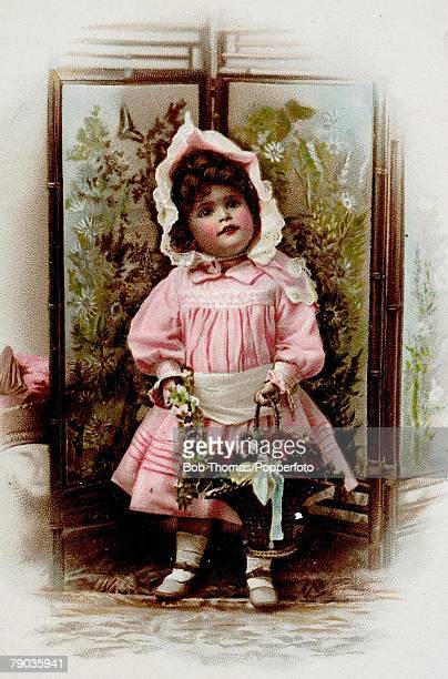 Colour illustration Victorian era Christmas greeting card Little girl in pink dress and wearing a bonnet