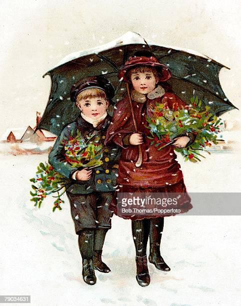 Colour illustration Victorian era Christmas New Years greeting card Boy and girl under an umbrella carrying holly in the snow