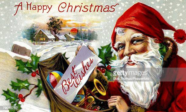 Colour Illustrations Victorian era christmas greeting card Father Christmas holding a sack full of presents with a scenic snow scene of some houses...