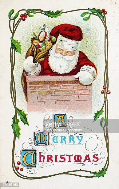 Colour Illustrations Victorian era christmas greeting card Father Christmas on the top of a chimney with a sack full of presents