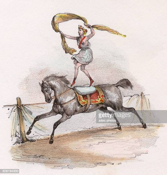 The circus Lithography by Victor Adam