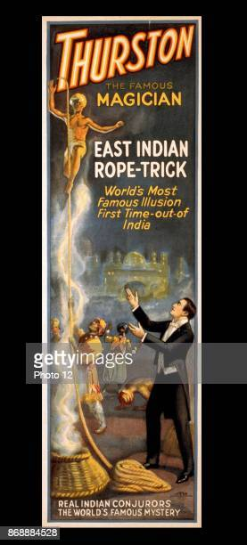 Colour lithograph depicting Howard Thurston the famous magician and his East Indian ropetrick Credited to Otis Lithograph Co Dated 1927