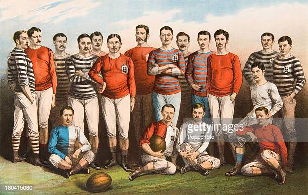 A colour lithograph featuring many of the leading players in the first decade of the FA Cup competition circa 1881 Back row left to right Charles...
