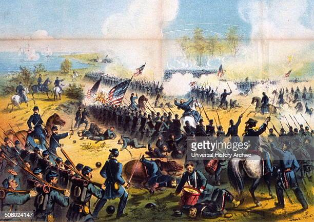 Colour lithograph of The Battle of Shiloh Dated 1862 Photo by