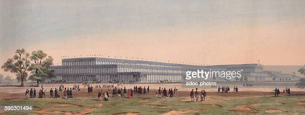 Colour lithograph of the Crystal Palace, designed by architect Joseph Paxton, during the Great Exhibition in London, England, 1851.