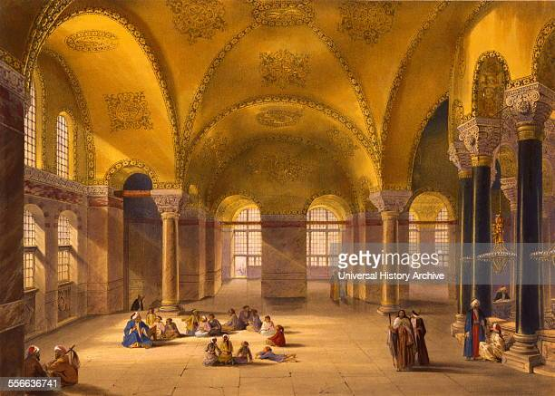 Colour lithograph of the interior of gynaeceum of Ayasofya Mosque formerly the Church of Hagia Sophia with groups of men women and children in...