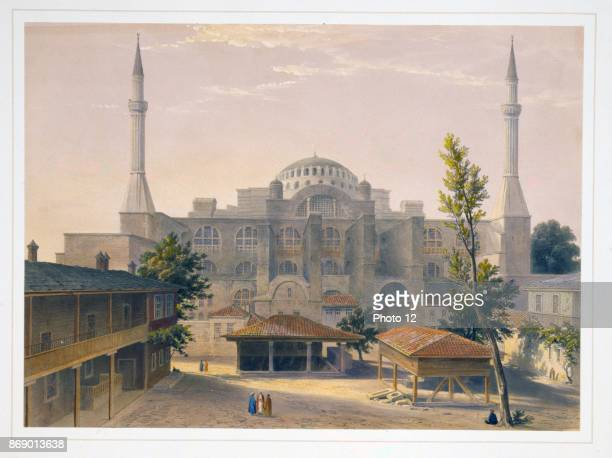 Colour lithograph of the Madrasah courtyard and exterior of Ayasofya Mosque formerly the Church of Hagia Sophia Ancient Greek ablution fountains in...