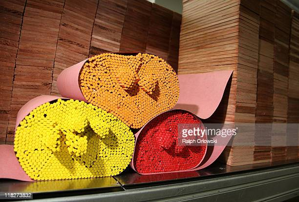 Colour pencil leads and strips of wood are held ready for production at the manufacturing plant of the FaberCastell factory on July 5 2011 in Stein...