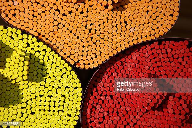 Colour pencil leads are held ready for production at the manufacturing plant of the FaberCastell factory on July 5 2011 in Stein near Nuremberg...