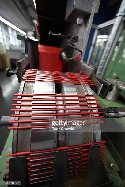 Colour pencil leads lie on a production line at the manufacturing plant of the FaberCastell factory on July 5 2011 in Stein near Nuremberg Germany...