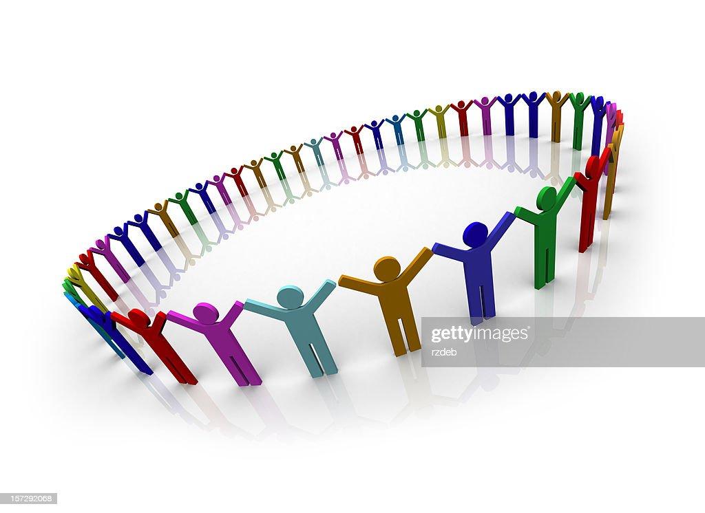 Colore persone cerchio : Foto stock