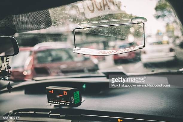 Colour photo from inside a taxi in Madrid
