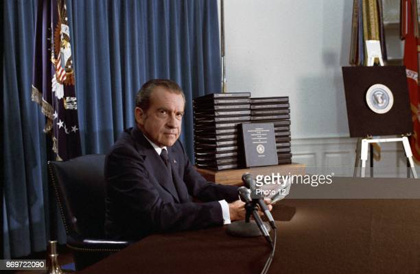 Colour photograph of President Richard Nixon 37th President of the United States. Dated 1974.