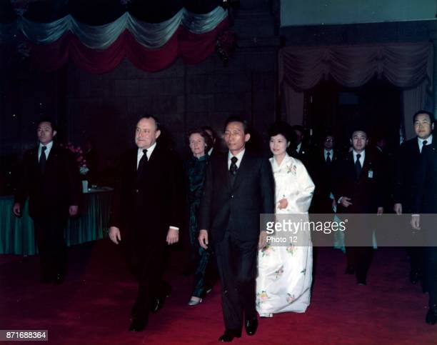 Colour photograph of Prime Minister Robert Muldoon Lady Thea Muldoon and Park Chung Hee Dated 1976