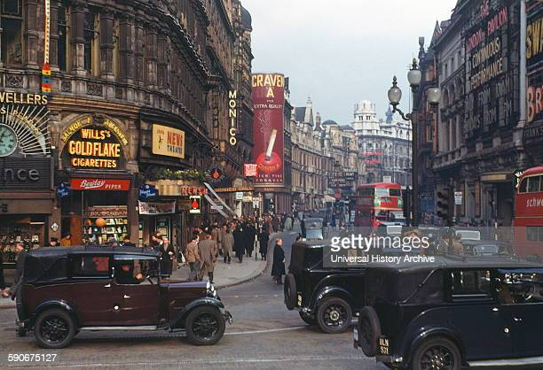 Colour photograph of Shaftesbury Avenue from Piccadilly Circus London Dated 1940