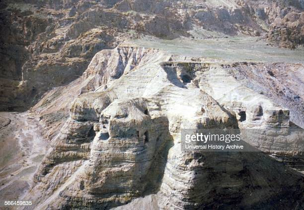 Colour photograph of the Caves at Qumran on the Western edge of the Dead Sea The location of where the Dead Sea scrolls were discovered Dated 1950