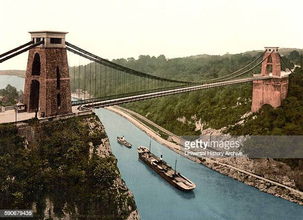 Colour photograph of the Clifton suspension bridge from the north east cliffs Bristol England Dated 1937