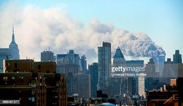Colour photograph of the Manhattan skyline following the terrorist attacks on the World Trade Centre. Dated 2001.