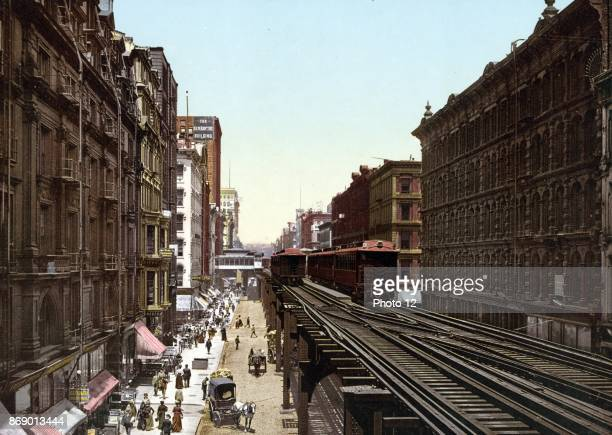 Colour photomechanical print of Wabash Avenue North from Adams Street Chicago Credited to the Detroit Photographic Co Dated 1900
