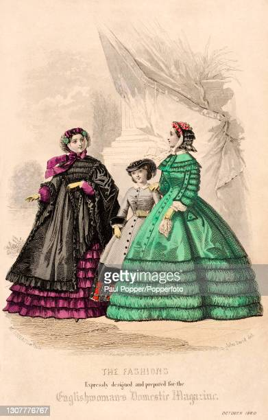 Colour plate from the Englishwoman's Domestic Magazine, showing two women and a child in front of a heavy curtain, one woman wears a green silk dress...