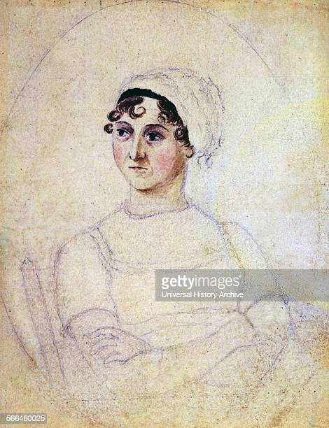 Colour portrait of Jane Austen drawn by her sister Cassandra Dated 1810