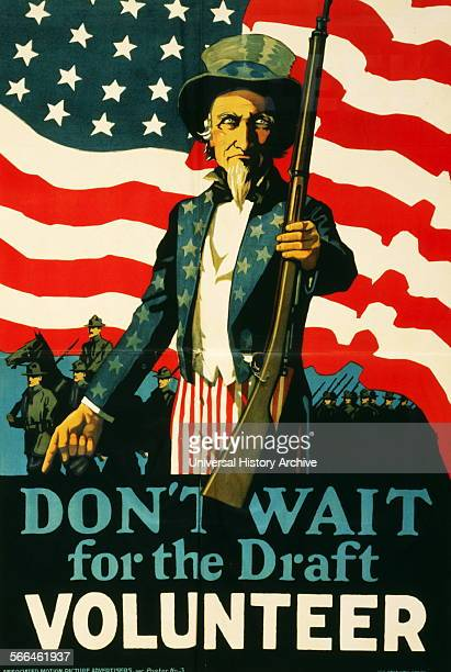Colour poster encouraging people to enlist with the American Army Uncle Sam is depicted offering a rifle to the potential volunteer Dated 1917