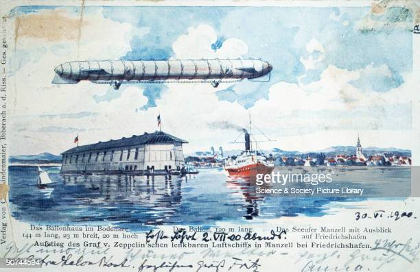 Colour print On the morning of 2nd July 1900 Ferdinand Graf von Zeppelin launched the first ever rigid airship the Zeppelin No 1 or LZ1 L standing...