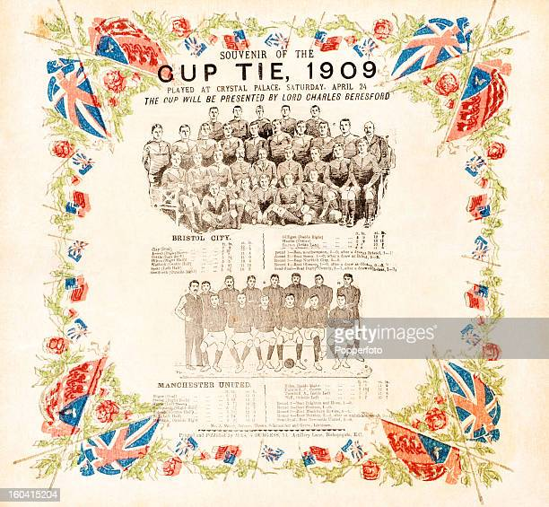 A colour printed napkin probably produced for the aftermatch dinner and featuring team groups lineups and a decorative border a souvenir of the 1909...