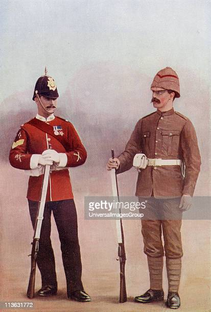 Colour Sergeant and Private of The Gloucestershire Regiment during the late 19th century From the book South Africa and the Transvaal War Volume 1 by...