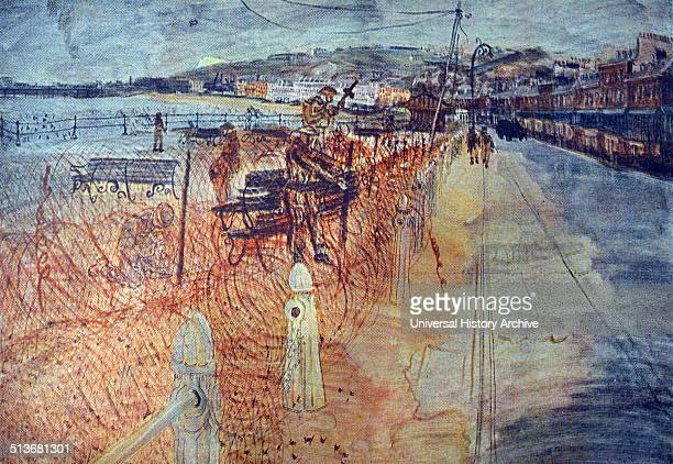 Colour sketch of the promenade in Dover Created by Anthony Gross a British printmaker painter war artist and film director of HungarianJewish Italian...