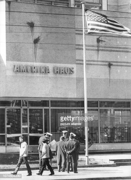 Colour spots above the writing 'Amerika Haus' During the Easter march in Berlin on 26 March 1967 a small group split off from the demonstration and...
