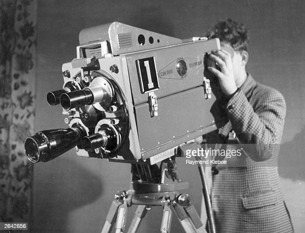 A colour television camera being demonstrated at Alexandra Palace London Original Publication Picture Post 7077 Colour TV When And How pub 1954
