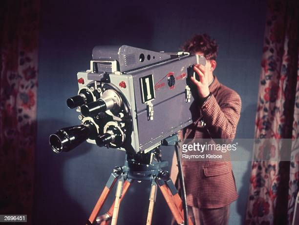 Colour television camera being demonstrated at Alexandra Palace, London. Original Publication: Picture Post - 7077 - Colour TV: When And How - pub....