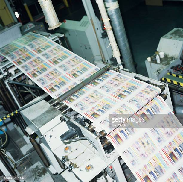 4 colour thermal ink web press in factory, elevated view - printing press stock pictures, royalty-free photos & images