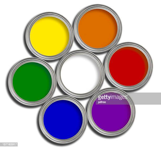 colour wheel of multi colored paint tins on white - tempera painting stock pictures, royalty-free photos & images