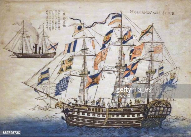 Colour woodblock print depicting a Dutch Ship of the Dutch East India Company Dated 1860