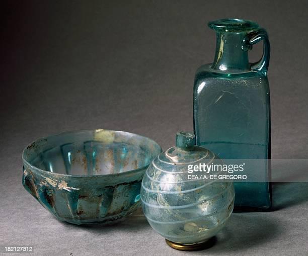 Coloured and decorated glass pottery Roman Civilisation Biella Museo Civico