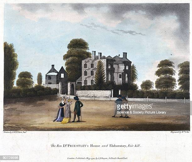 Coloured aquatint engraving by William Ellis after a drawing by PH Witton Jr Joseph Priestley discovered various gaseous elements and compounds and...