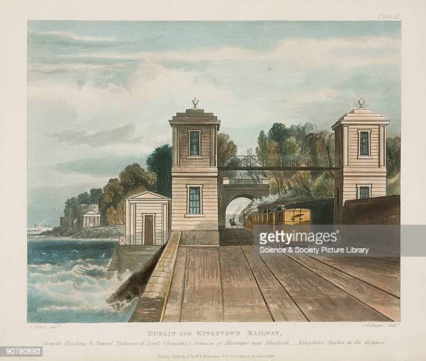 Coloured aquatint showing a train on the coastal railway The caption at the bottom of the image reads 'Lord Cloncurry's Demesne of Maratimo near...