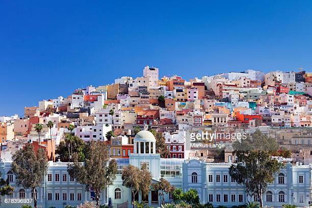 Coloured buildings in the district of San Juan, Las Palmas, Gran Canaria, Canary Islands, Spain, Europe