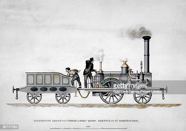 Coloured drawing inscribed 'Locomotive Engine with Tender of Messrs Sharp Roberts and Co's Construction' The locomotive was built in Manchester for...