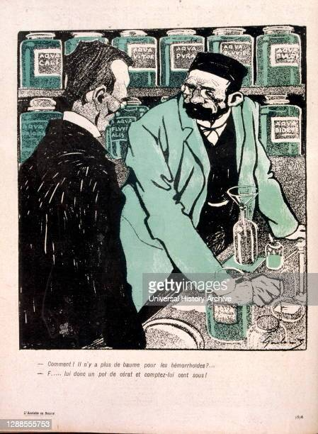 """Coloured drawing of two men speaking in a Pharmacy; one asks """"How come there's no more haemorrhoid ointment?""""."""